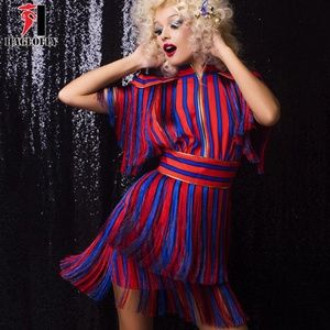 Short Sleeve Tassel Red Blue Striped Dress